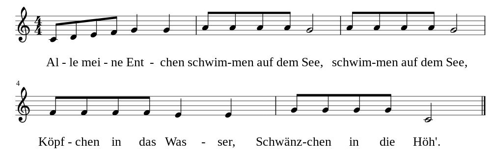 Kinderlieder Noten: Alle meine Entchen