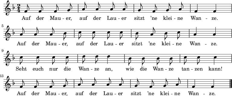 Kinderlieder Noten: Auf der Mauer auf der Lauer