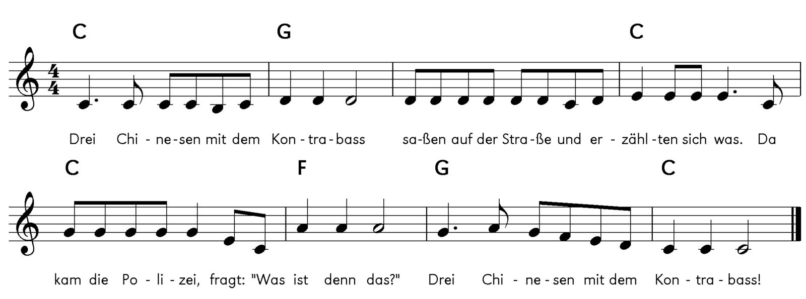 Kinderlieder Noten: Drei Chinesen mit dem Kontrabass